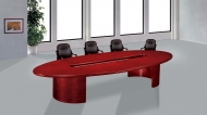 Boardroom H008                                Boardroom oval shaped mahogany veneer 60mm thick top, an oval cut out centre and can seat 12